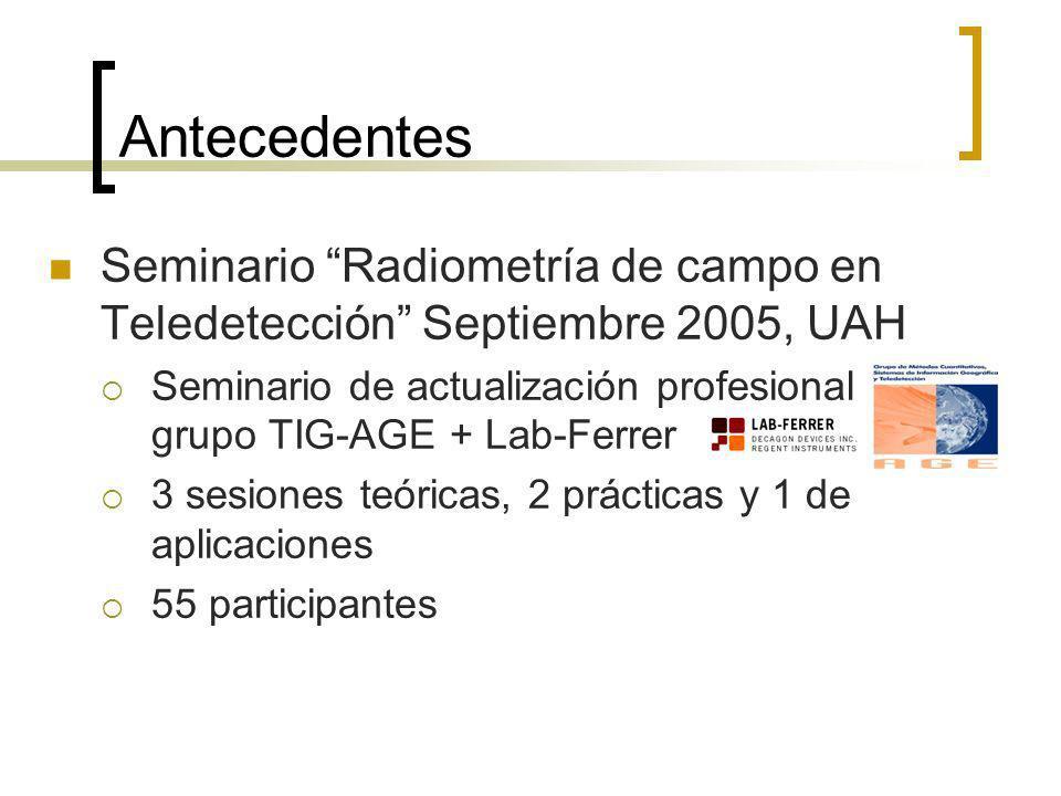 Antecedentes Seminario Radiometría de campo en Teledetección Septiembre 2005, UAH Seminario de actualización profesional grupo TIG-AGE + Lab-Ferrer 3 sesiones teóricas, 2 prácticas y 1 de aplicaciones 55 participantes