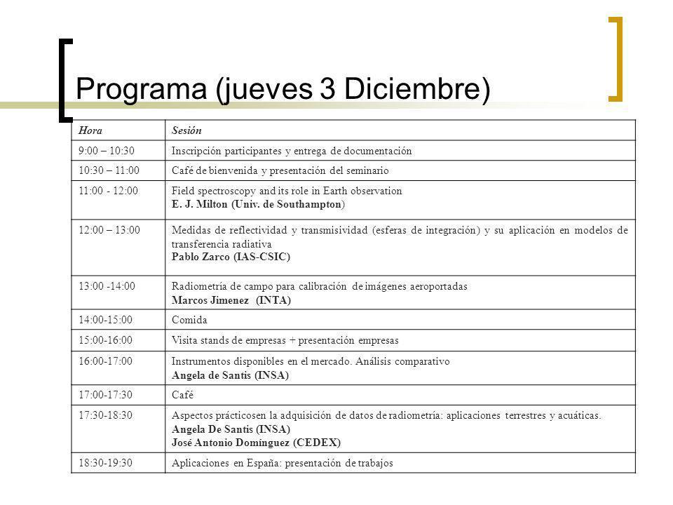 Programa (jueves 3 Diciembre) HoraSesión 9:00 – 10:30Inscripción participantes y entrega de documentación 10:30 – 11:00Café de bienvenida y presentación del seminario 11:00 - 12:00Field spectroscopy and its role in Earth observation E.