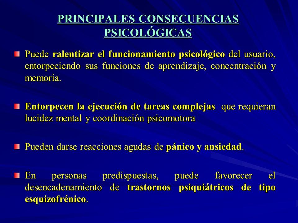 PRINCIPALES CONSECUENCIAS PSICOLÓGICAS Puede ralentizar el funcionamiento psicológico del usuario, entorpeciendo sus funciones de aprendizaje, concent