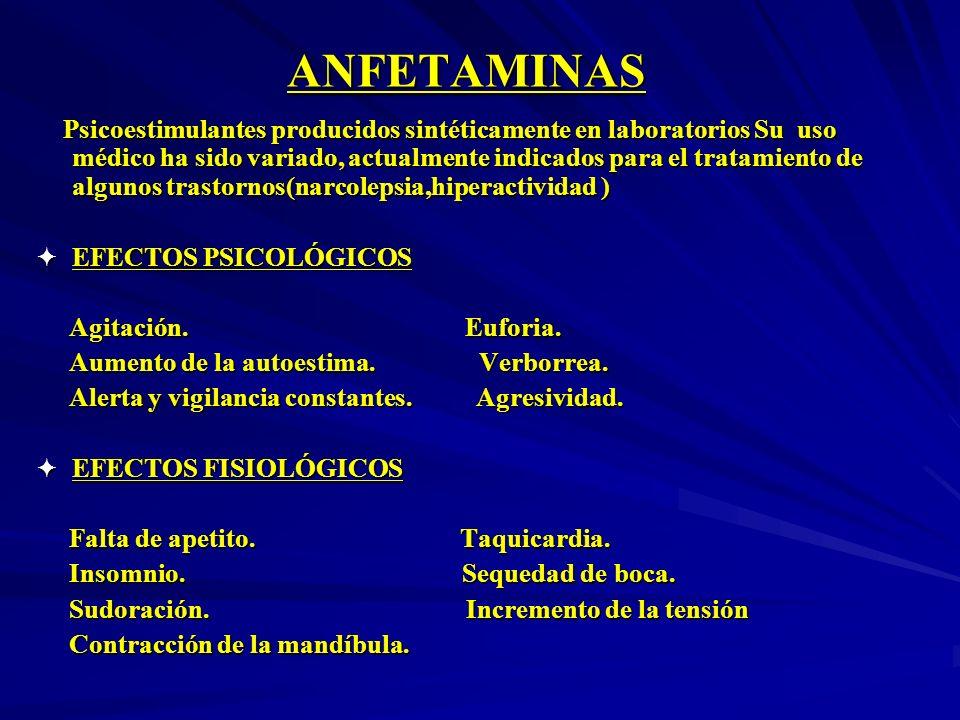 ANFETAMINAS Psicoestimulantes producidos sintéticamente en laboratorios Su uso médico ha sido variado, actualmente indicados para el tratamiento de al
