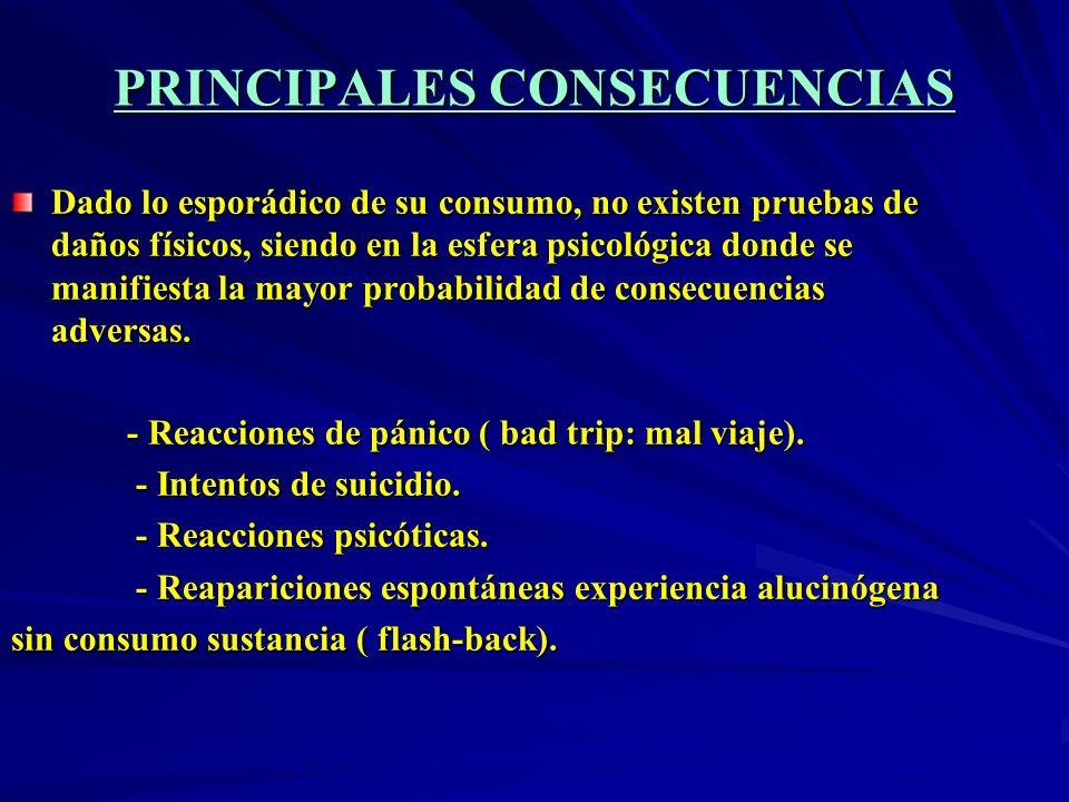 PRINCIPALES CONSECUENCIAS Dado lo esporádico de su consumo, no existen pruebas de daños físicos, siendo en la esfera psicológica donde se manifiesta l