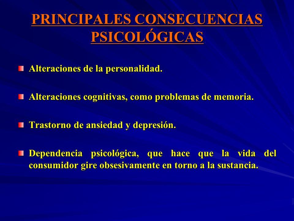 PRINCIPALES CONSECUENCIAS PSICOLÓGICAS Alteraciones de la personalidad. Alteraciones cognitivas, como problemas de memoria. Trastorno de ansiedad y de