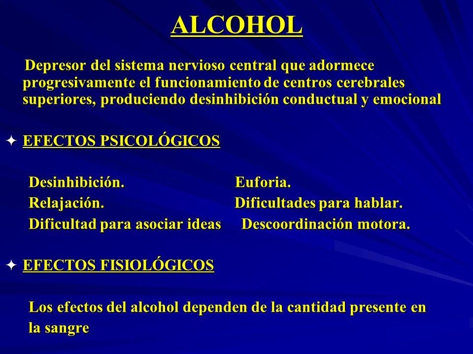 ALCOHOL Depresor del sistema nervioso central que adormece progresivamente el funcionamiento de centros cerebrales superiores, produciendo desinhibici