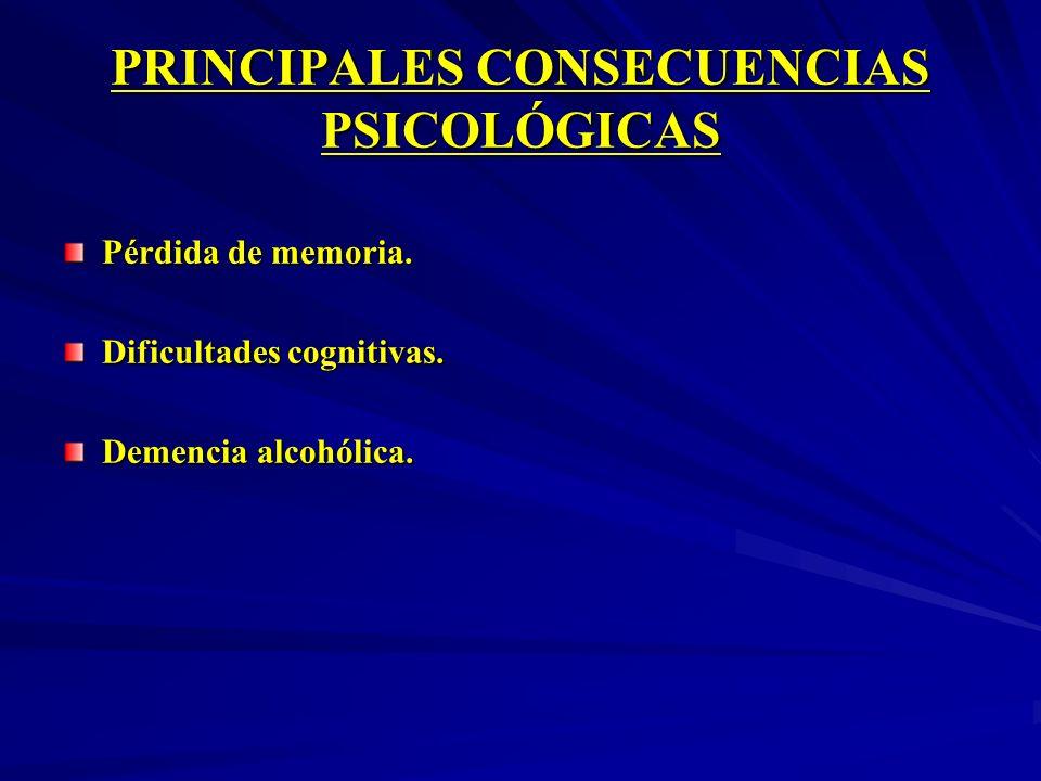 PRINCIPALES CONSECUENCIAS PSICOLÓGICAS Pérdida de memoria. Dificultades cognitivas. Demencia alcohólica.