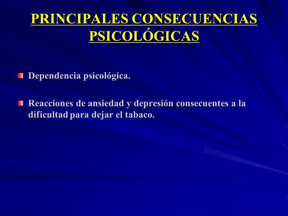 PRINCIPALES CONSECUENCIAS PSICOLÓGICAS Dependencia psicológica. Reacciones de ansiedad y depresión consecuentes a la dificultad para dejar el tabaco.
