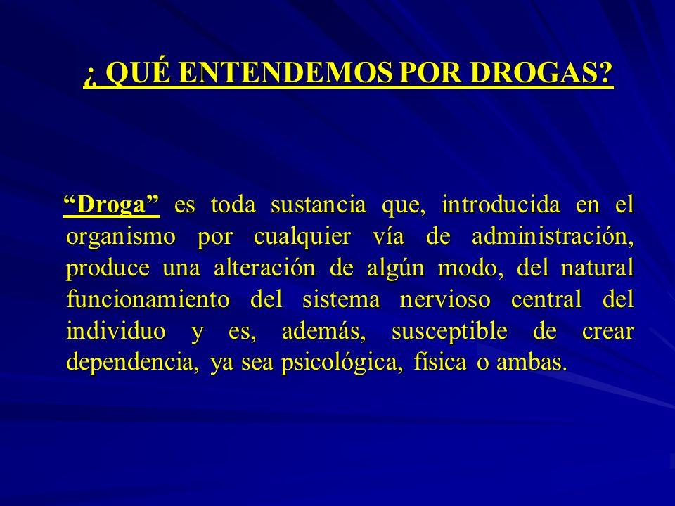 ¿ QUÉ ENTENDEMOS POR DROGAS? Droga es toda sustancia que, introducida en el organismo por cualquier vía de administración, produce una alteración de a