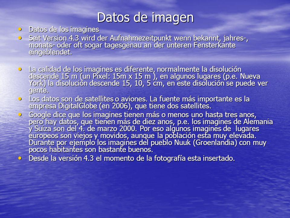 Datos de imagen Datos de los imagines Datos de los imagines Seit Version 4.3 wird der Aufnahmezeitpunkt wenn bekannt, jahres-, monats- oder oft sogar tagesgenau an der unteren Fensterkante eingeblendet.
