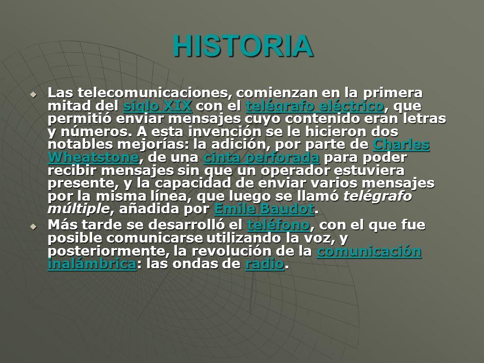 HISTORIA Las telecomunicaciones, comienzan en la primera mitad del siglo XIX con el telégrafo eléctrico, que permitió enviar mensajes cuyo contenido eran letras y números.