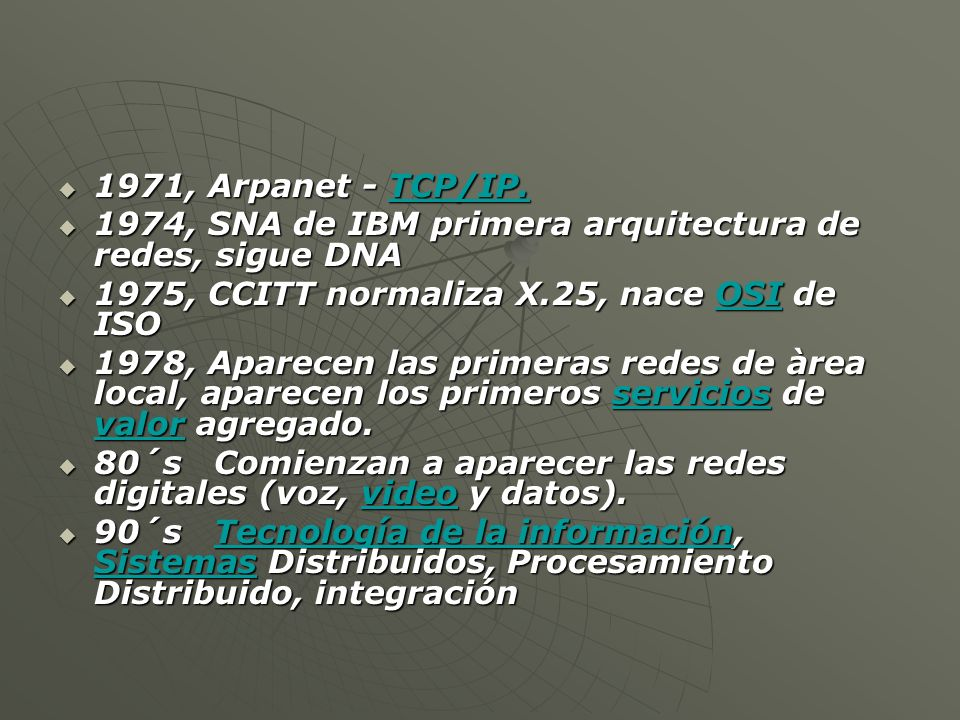 1971, Arpanet - TCP/IP. 1971, Arpanet - TCP/IP.TCP/IP.