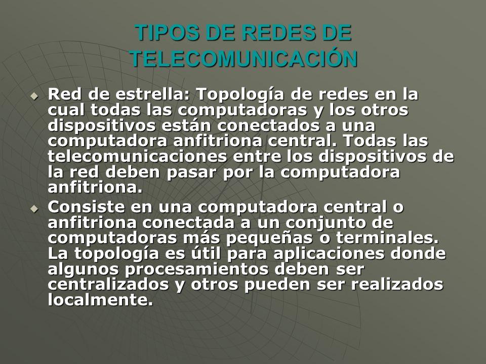 Red de estrella: Topología de redes en la cual todas las computadoras y los otros dispositivos están conectados a una computadora anfitriona central.