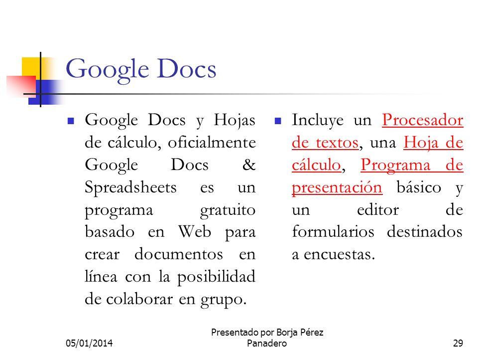 05/01/2014 Presentado por Borja Pérez Panadero28 Google Imágenes Se trata de una especialización del buscador principal para imágenes. A partir de 200