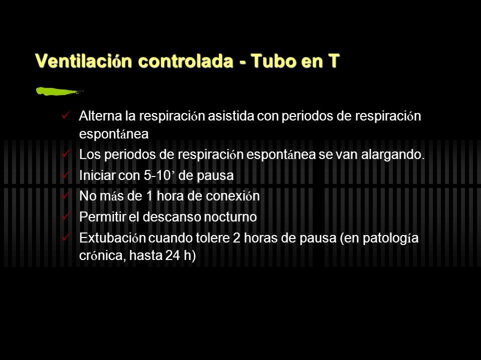 Ventilaci ó n controlada - Tubo en T Alterna la respiraci ó n asistida con periodos de respiraci ó n espont á nea Los periodos de respiraci ó n espont