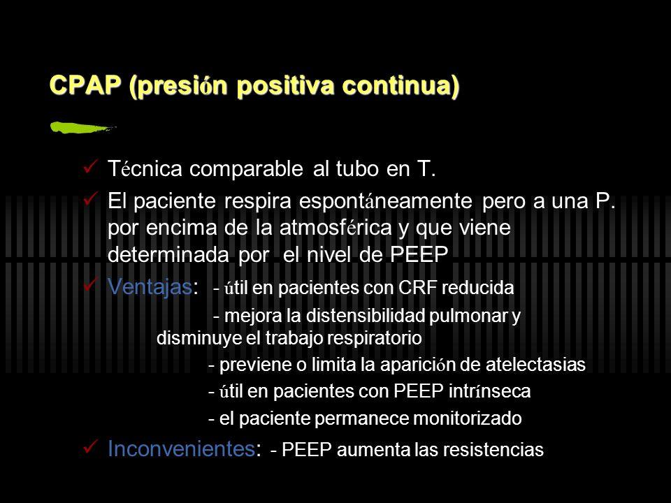 CPAP (presi ó n positiva continua) T é cnica comparable al tubo en T. El paciente respira espont á neamente pero a una P. por encima de la atmosf é ri
