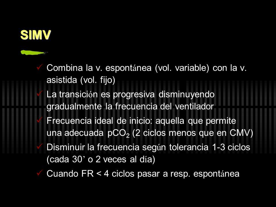 SIMV Combina la v. espont á nea (vol. variable) con la v. asistida (vol. fijo) La transici ó n es progresiva disminuyendo gradualmente la frecuencia d