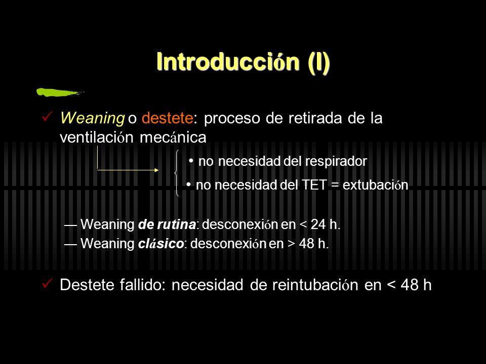 Introducci ó n (I) Weaning o destete: proceso de retirada de la ventilaci ó n mec á nica no necesidad del respirador no necesidad del TET = extubaci ó