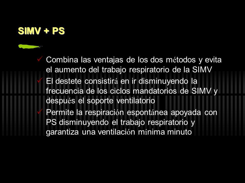 SIMV + PS Combina las ventajas de los dos m é todos y evita el aumento del trabajo respiratorio de la SIMV El destete consistir á en ir disminuyendo l