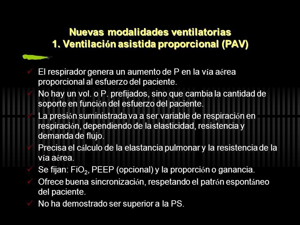 Nuevas modalidades ventilatorias 1. Ventilaci ó n asistida proporcional (PAV) El respirador genera un aumento de P en la v í a a é rea proporcional al