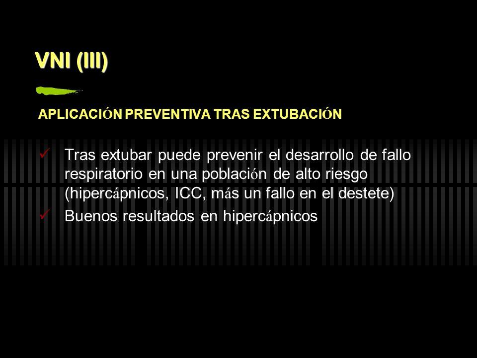 VNI (III) APLICACI Ó N PREVENTIVA TRAS EXTUBACI Ó N Tras extubar puede prevenir el desarrollo de fallo respiratorio en una poblaci ó n de alto riesgo