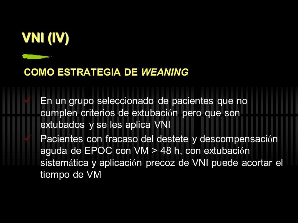 VNI (IV) COMO ESTRATEGIA DE WEANING En un grupo seleccionado de pacientes que no cumplen criterios de extubaci ó n pero que son extubados y se les apl