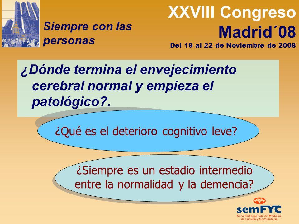 XXVIII Congreso Madrid´08 Siempre con las personas Del 19 al 22 de Noviembre de 2008 Cada año, un 15 % de las personas diagnosticadas de deterioro cognitivo leve evolucionan a demencia.