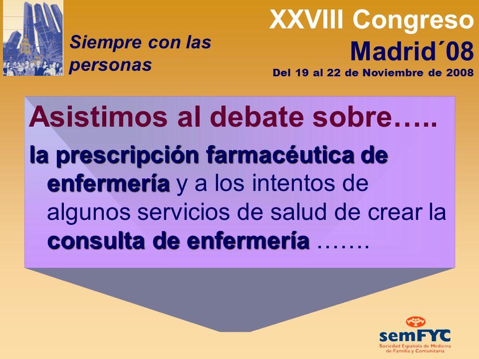 XXVIII Congreso Madrid´08 Siempre con las personas Del 19 al 22 de Noviembre de 2008 ¿Es posible organizarse de otra forma en los equipos para satisfacer las necesidades de nuestros pacientes.