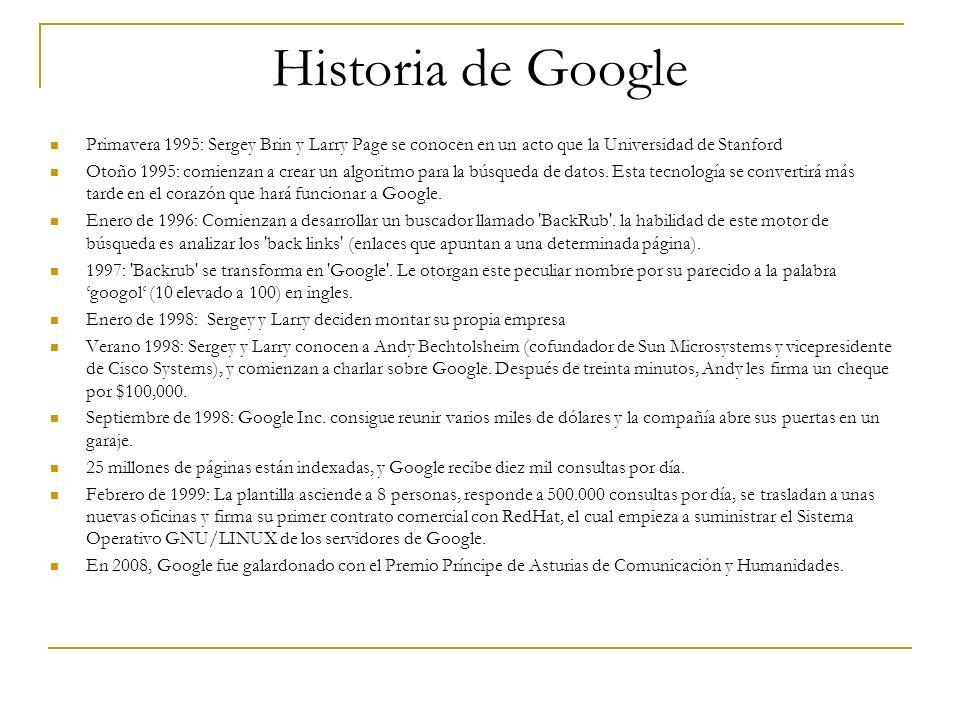 Historia de Google Primavera 1995: Sergey Brin y Larry Page se conocen en un acto que la Universidad de Stanford Otoño 1995: comienzan a crear un algo
