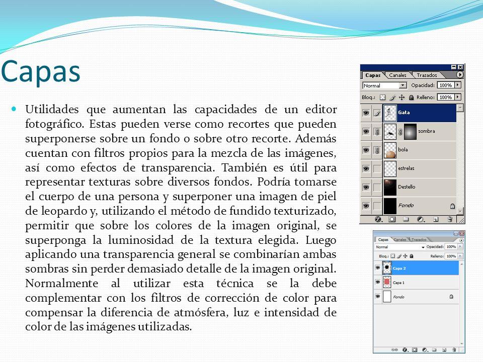 Capas Utilidades que aumentan las capacidades de un editor fotográfico. Estas pueden verse como recortes que pueden superponerse sobre un fondo o sobr