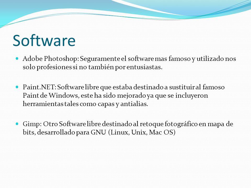Software Adobe Photoshop: Seguramente el software mas famoso y utilizado nos solo profesiones si no también por entusiastas. Paint.NET: Software libre