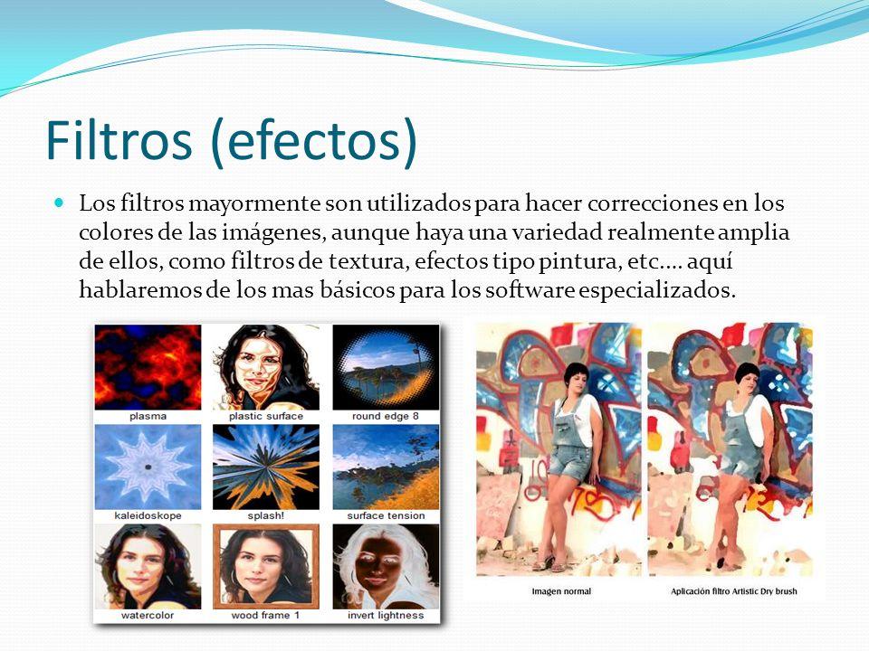 Filtros (efectos) Los filtros mayormente son utilizados para hacer correcciones en los colores de las imágenes, aunque haya una variedad realmente amp