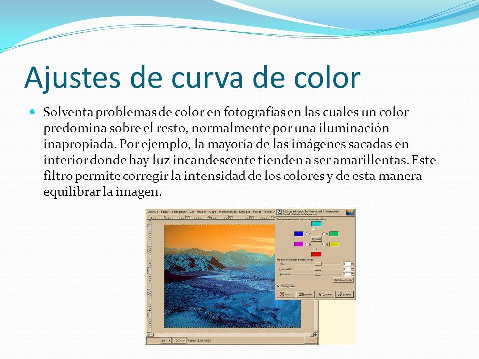 Ajustes de curva de color Solventa problemas de color en fotografías en las cuales un color predomina sobre el resto, normalmente por una iluminación