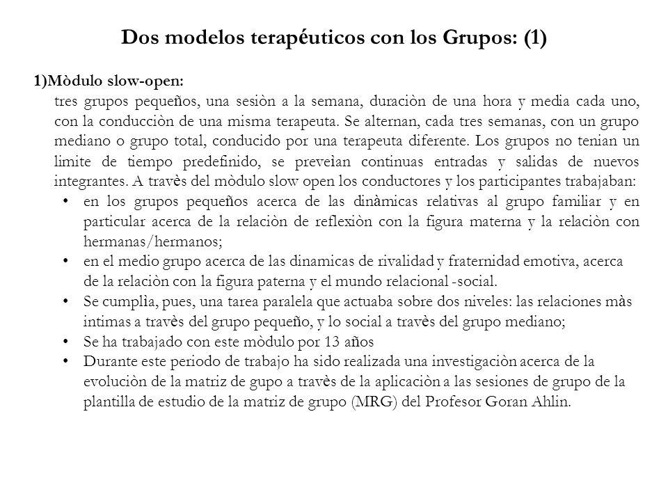 Dos modelos terap é uticos con los Grupos: (1) 1) Mòdulo slow-open: tres grupos peque ñ os, una sesiòn a la semana, duraciòn de una hora y media cada uno, con la conducciòn de una misma terapeuta.