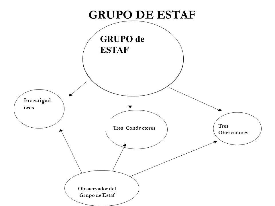 GRUPO DE ESTAF Tres Conductores Tres Obervadores Obsaervador del Grupo de Estaf Investigad ores GRUPO de ESTAF