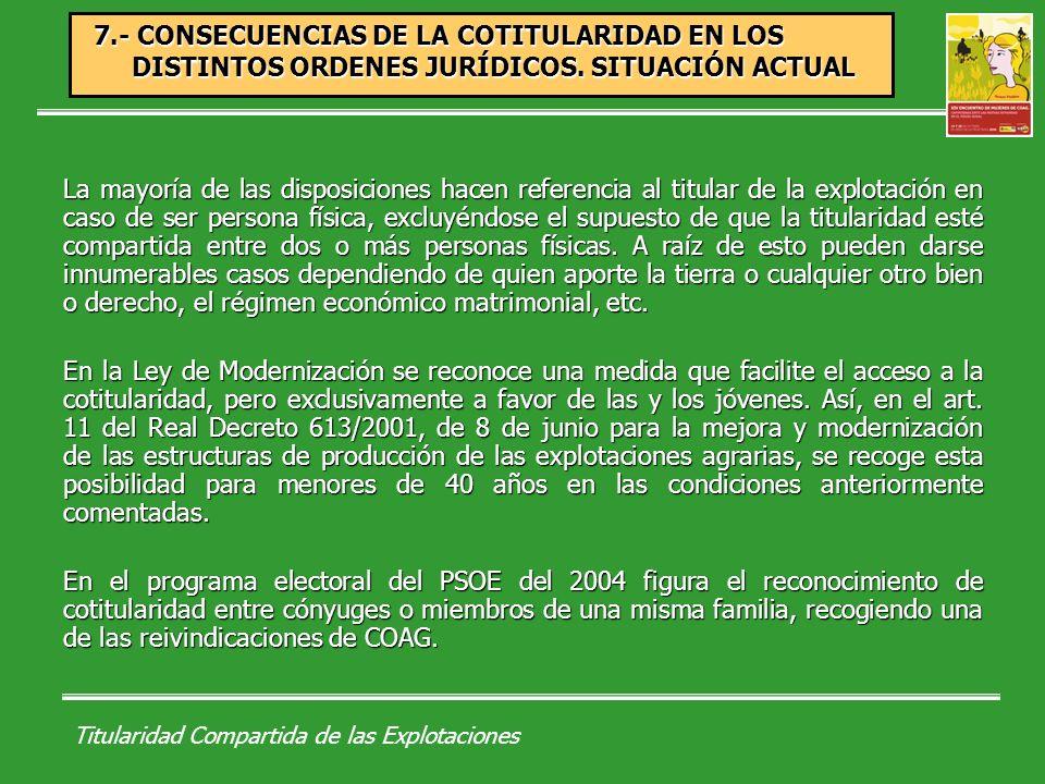 Titularidad Compartida de las Explotaciones 7.- CONSECUENCIAS DE LA COTITULARIDAD EN LOS DISTINTOS ORDENES JURÍDICOS.