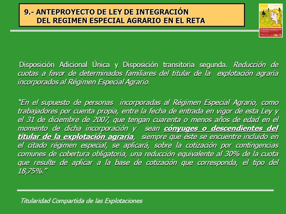 Titularidad Compartida de las Explotaciones Falta de reconocimiento jurídico de la cotitularidad de la mujer agricultora en la explotación agraria en la futura Ley de Desarrollo Rural.