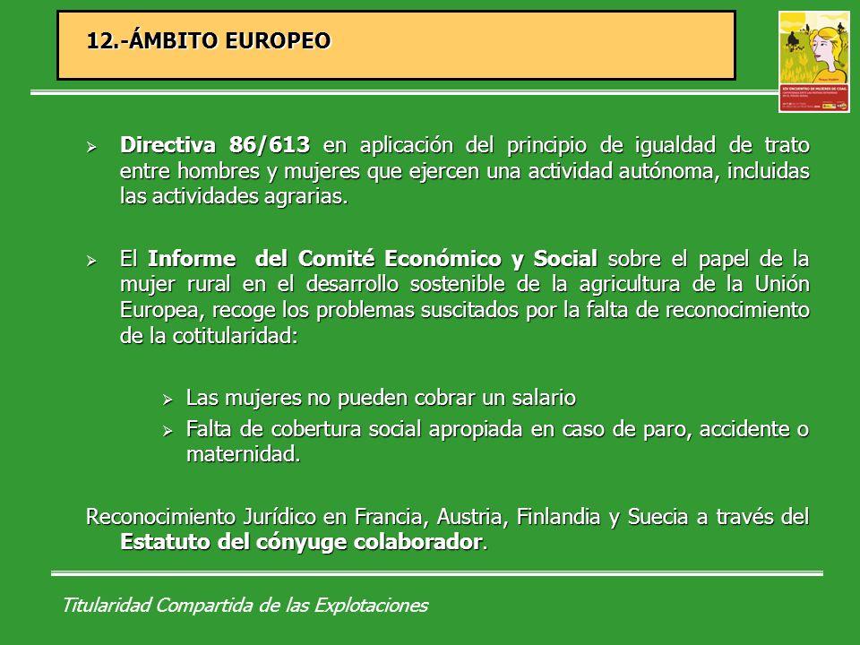 Titularidad Compartida de las Explotaciones 12.1.- FRANCIA Ley de Orientación Agraria Francesa (9 de julio de 1999).