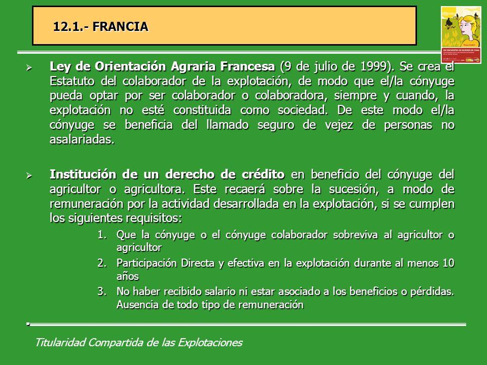 Titularidad Compartida de las Explotaciones 12.2.- SUECIA Ley de 1904 de derechos en régimen de copropiedad.