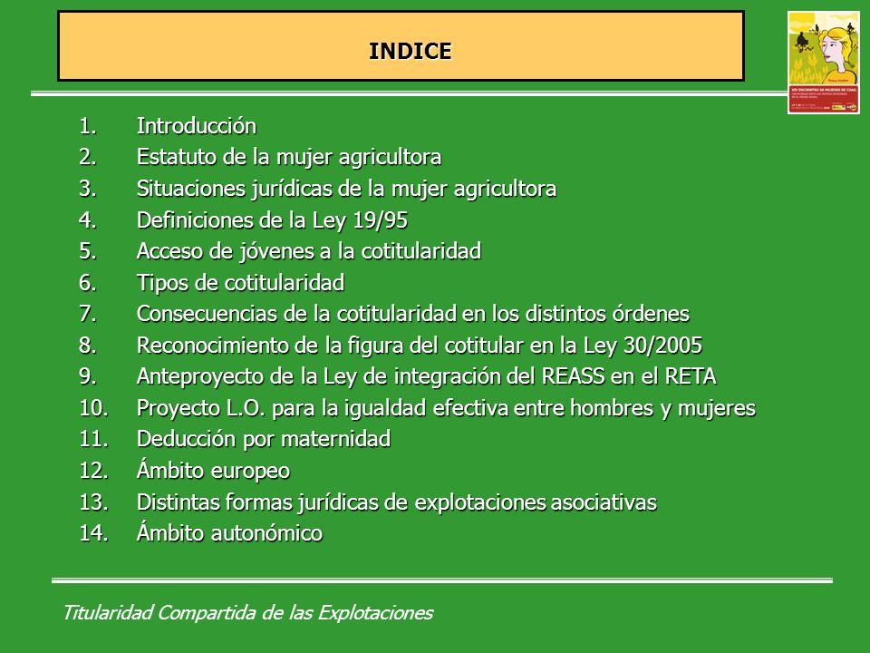 Titularidad Compartida de las Explotaciones INDICE INDICE 1.Introducción 2.Estatuto de la mujer agricultora 3.Situaciones jurídicas de la mujer agricultora 4.Definiciones de la Ley 19/95 5.Acceso de jóvenes a la cotitularidad 6.Tipos de cotitularidad 7.Consecuencias de la cotitularidad en los distintos órdenes 8.Reconocimiento de la figura del cotitular en la Ley 30/2005 9.Anteproyecto de la Ley de integración del REASS en el RETA 10.Proyecto L.O.