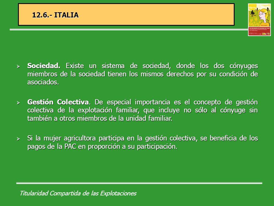 Titularidad Compartida de las Explotaciones 13.- DISTINTAS FORMAS JURÍDICAS DE LAS EXPLOTACIONES ASOCIATIVAS A.Comunidad de bienes.