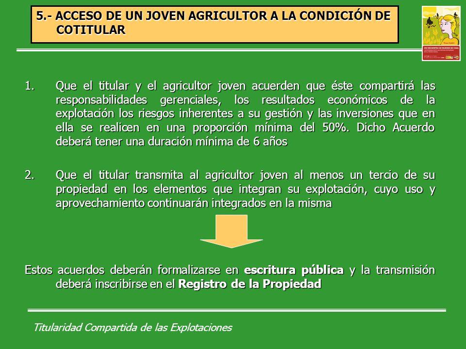 Titularidad Compartida de las Explotaciones a)Cotitularidad que se constituye mediante el acuerdo de colaboración entre un primer titular y un joven agricultor, en los términos establecidos en la Ley de modernización de explotaciones agrarias.