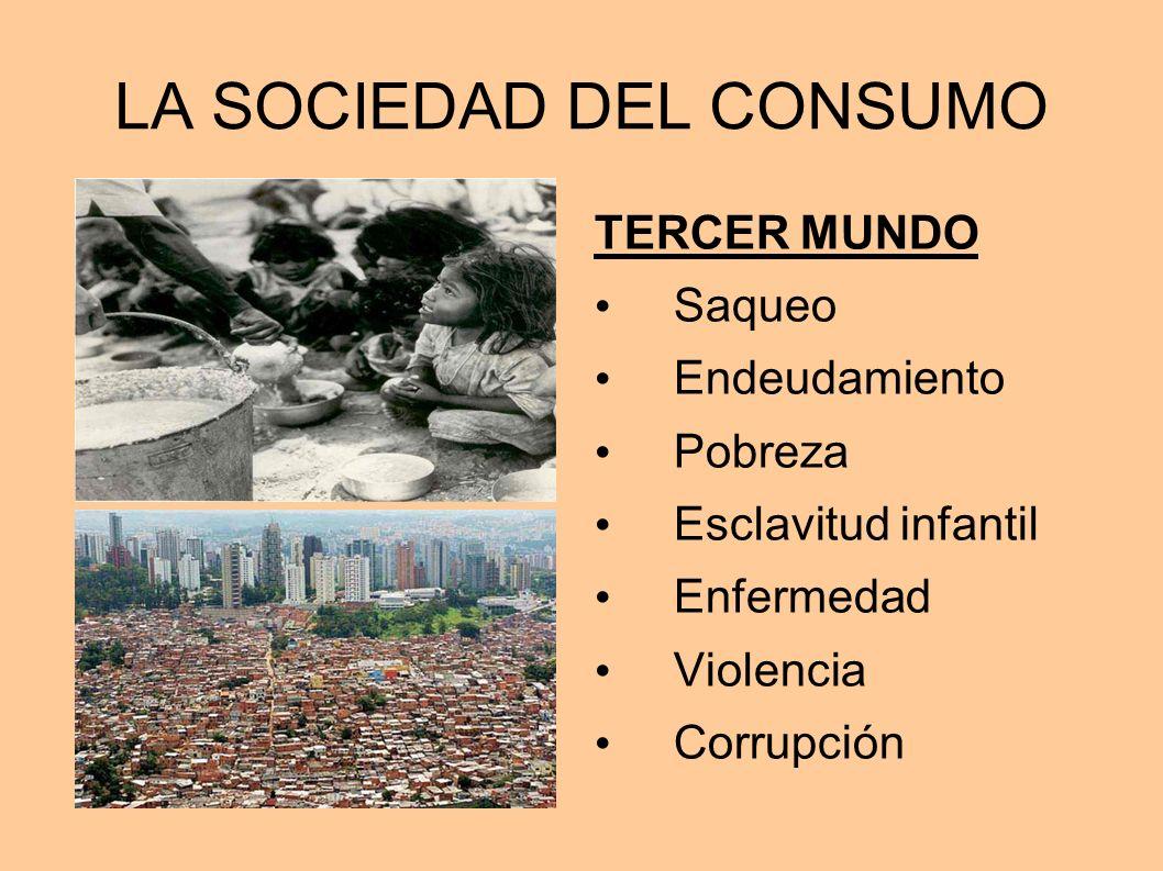 LA SOCIEDAD DEL CONSUMO TERCER MUNDO Saqueo Endeudamiento Pobreza Esclavitud infantil Enfermedad Violencia Corrupción