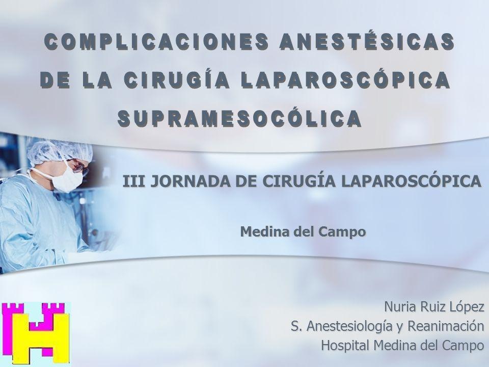 Nuria Ruiz López S. Anestesiología y Reanimación Hospital Medina del Campo III JORNADA DE CIRUGÍA LAPAROSCÓPICA Medina del Campo