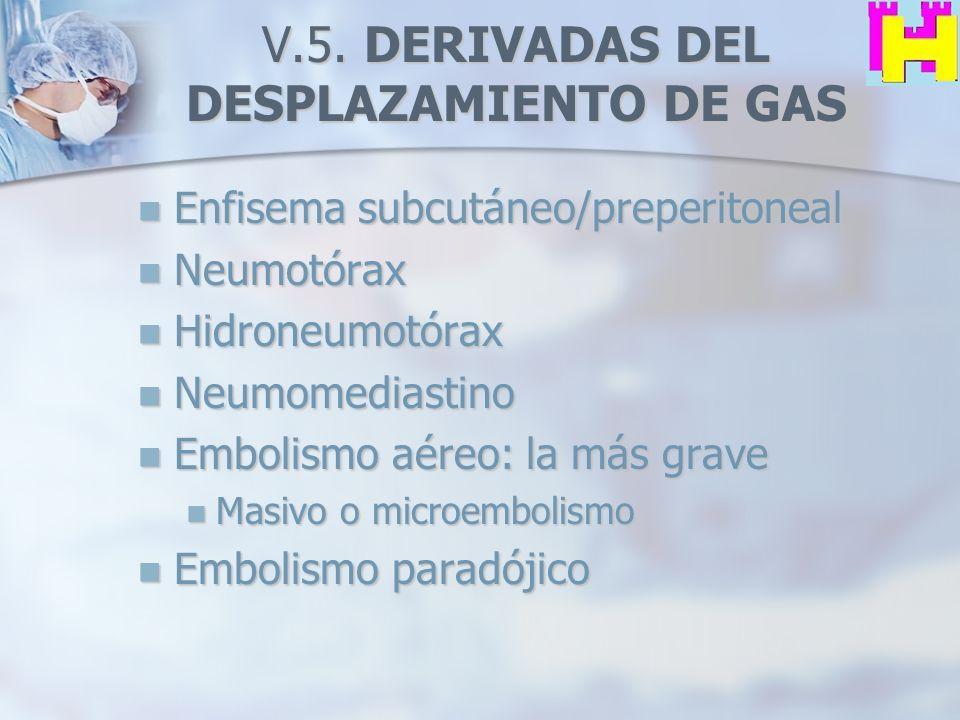 V.5. DERIVADAS DEL DESPLAZAMIENTO DE GAS Enfisema subcutáneo/preperitoneal Enfisema subcutáneo/preperitoneal Neumotórax Neumotórax Hidroneumotórax Hid