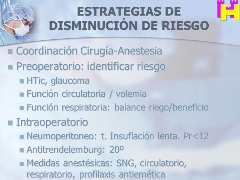 ESTRATEGIAS DE DISMINUCIÓN DE RIESGO Coordinación Cirugía-Anestesia Coordinación Cirugía-Anestesia Preoperatorio: identificar riesgo Preoperatorio: id