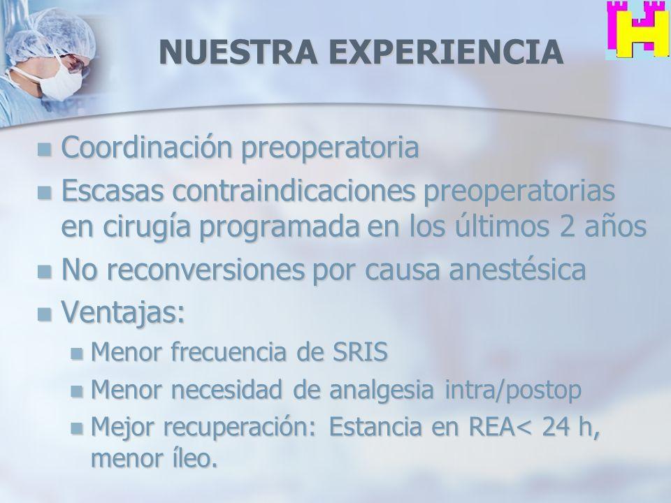 NUESTRA EXPERIENCIA Coordinación preoperatoria Coordinación preoperatoria Escasas contraindicaciones preoperatorias en cirugía programada en los últim
