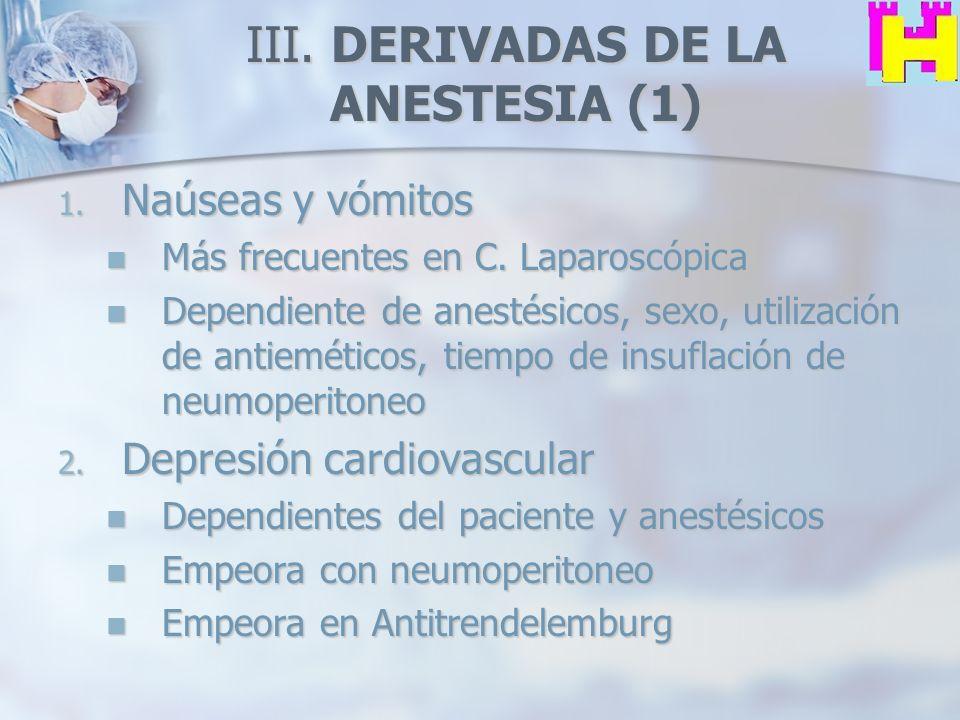III. DERIVADAS DE LA ANESTESIA (1) 1. Naúseas y vómitos Más frecuentes en C. Laparoscópica Más frecuentes en C. Laparoscópica Dependiente de anestésic