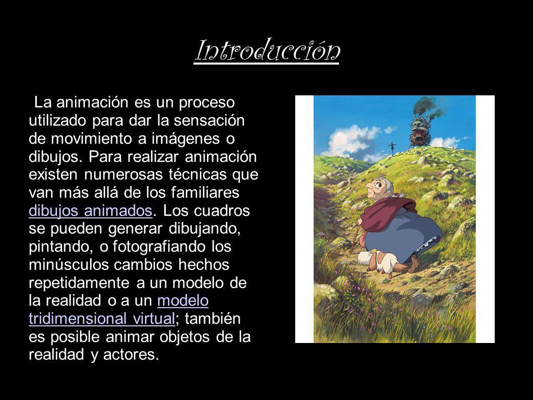 Introducción La animación es un proceso utilizado para dar la sensación de movimiento a imágenes o dibujos. Para realizar animación existen numerosas
