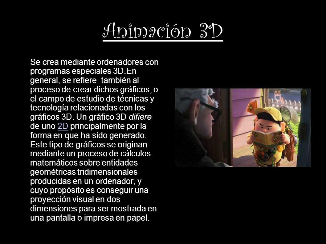 Animación 3D Se crea mediante ordenadores con programas especiales 3D.En general, se refiere también al proceso de crear dichos gráficos, o el campo d