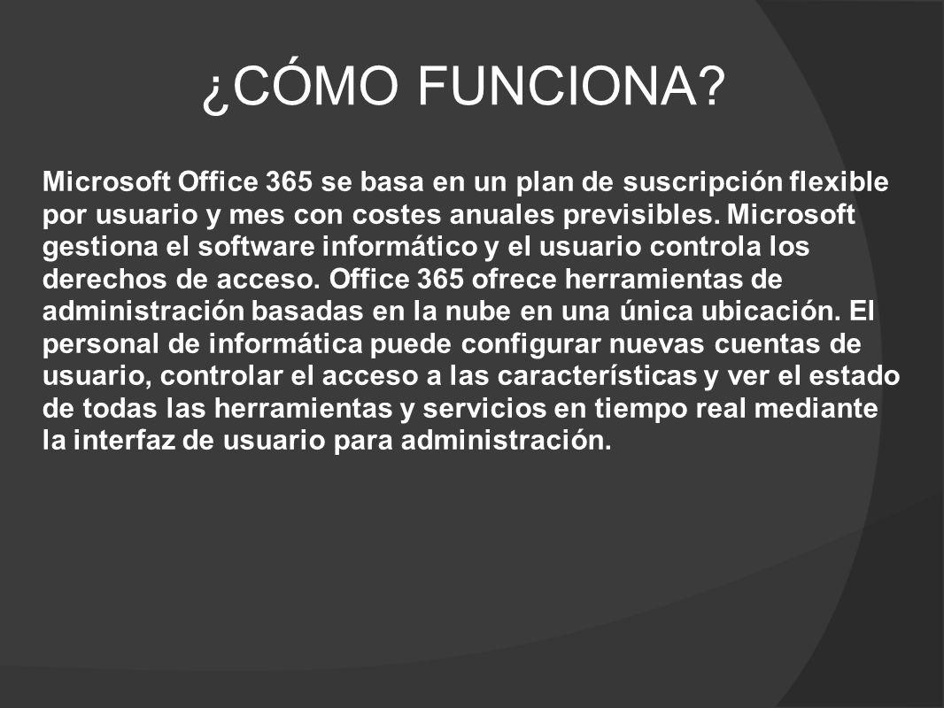 SERVICIOS EN LÍNEA Office 365 agrupa los servicios de productividad en la nube de Microsoft en un único paquete que ofrece la máxima seguridad, fiabilidad y flexibilidad.