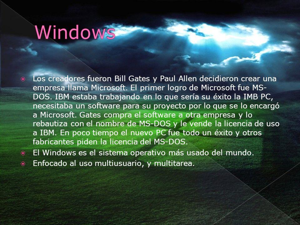Los creadores fueron Bill Gates y Paul Allen decidieron crear una empresa llama Microsoft. El primer logro de Microsoft fue MS- DOS. IBM estaba trabaj