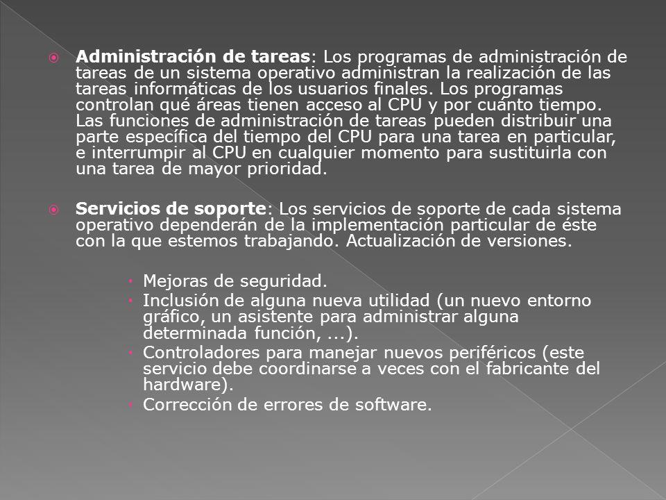 Administración de tareas: Los programas de administración de tareas de un sistema operativo administran la realización de las tareas informáticas de l